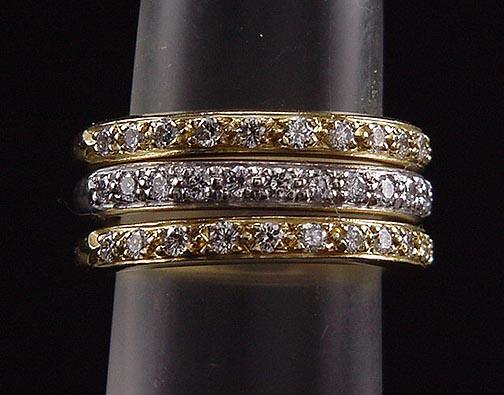Stunning Estate Trio Doris Panos 18K Yellow & White Gold Diamond