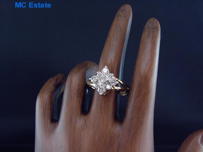 Elegant Estate 14k Yellow Gold Zales 1 Carat JWBR Diamond Cluster Sunburst Ri