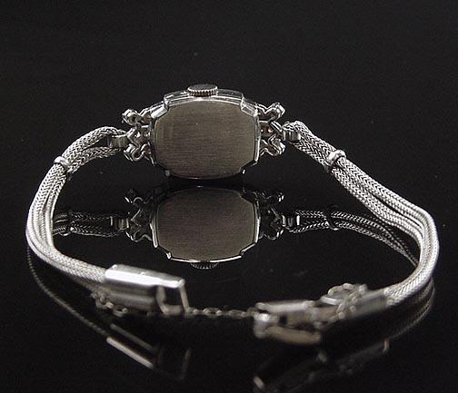 Stunning Antique Art Deco 14K White Gold Hamilton Diamond Ladies Watch